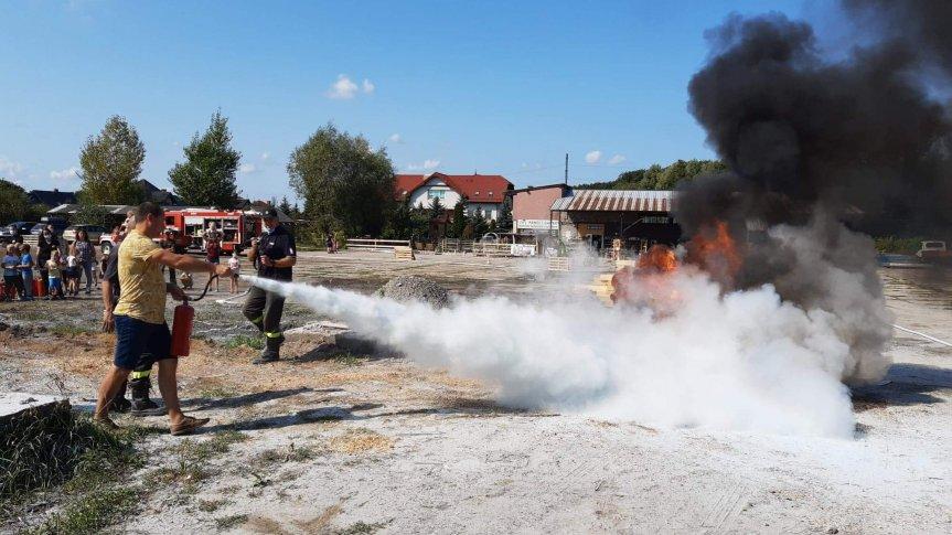 Człowiek gaszący ogień za pomocą gaśnicy