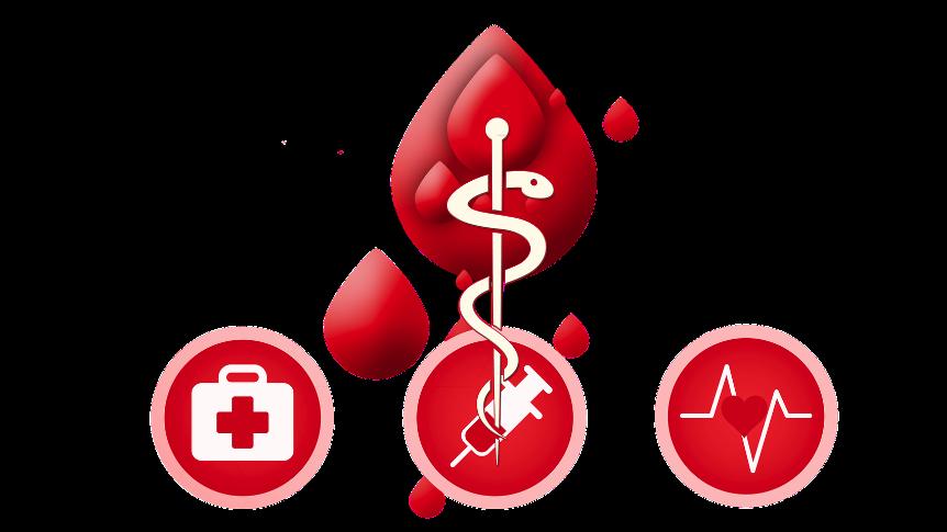 symbole kropli krwi. pod spodem trzy czerwone kółka zawierające kolejno: symbol apteczki, strzykawki, linii życia