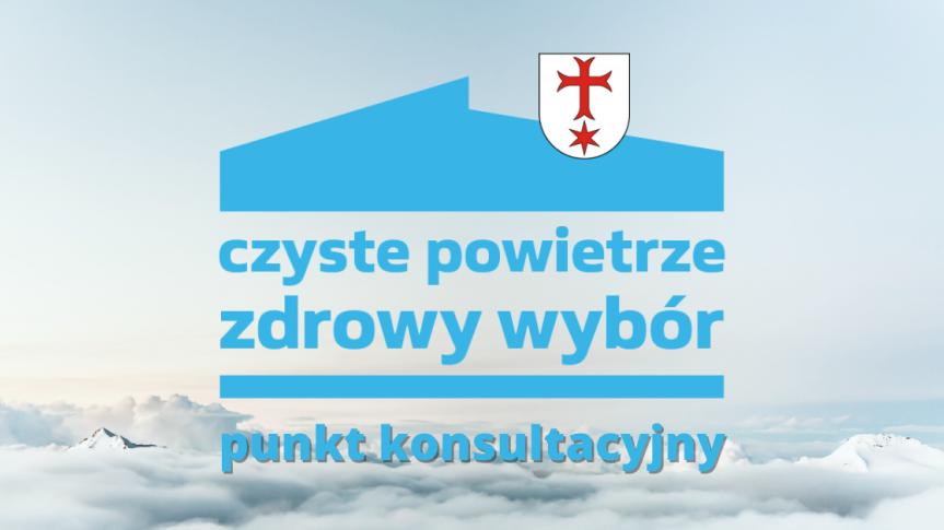 Zdjęcie chmur z herbem gminy Siechnice i napisem czyste powietrze zdrowy wybór, punkt konsultacyjny