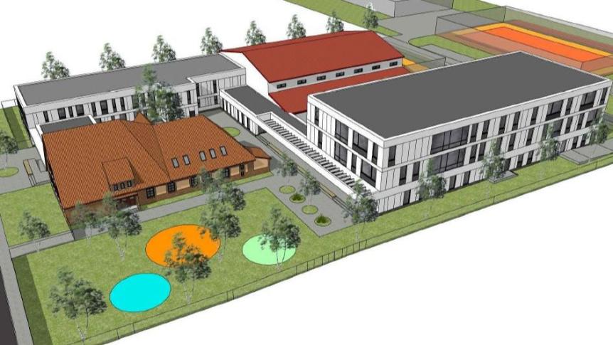 Wizualizacja rozbudowanej szkoły podstawowej w Radwanicach